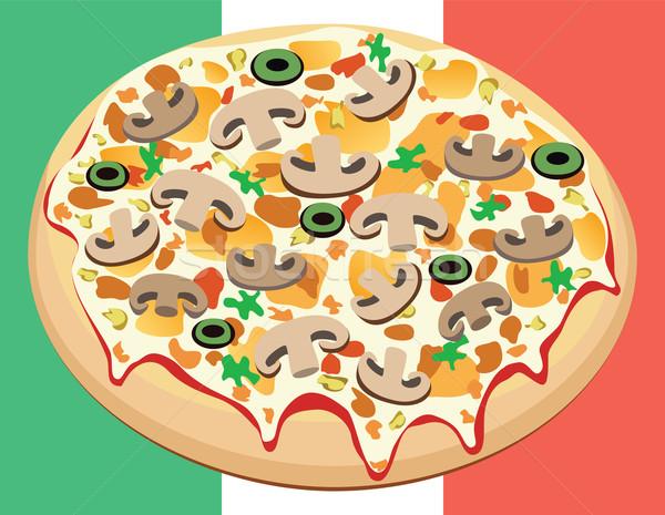 Stock fotó: Vektor · pizza · olasz · zászló · étel · étterem · zöld