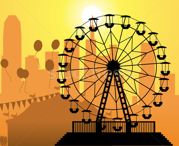Vector silhouetten stad pretpark circus Stockfoto © freesoulproduction