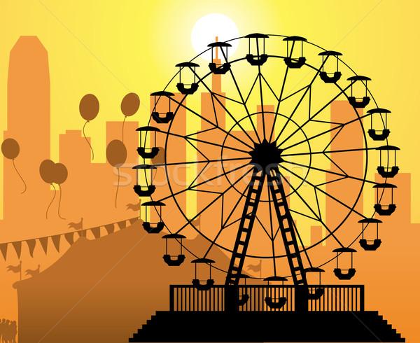 Vector siluetas ciudad parque de atracciones circo Foto stock © freesoulproduction