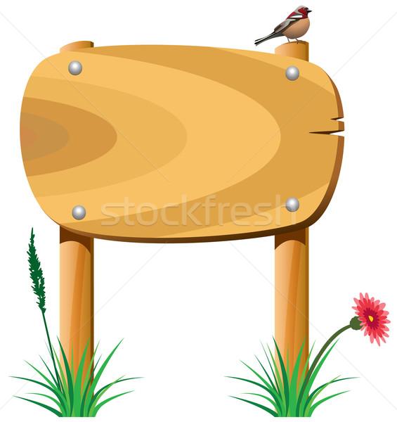 Stockfoto: Vector · houten · communie · gras · bloem · vogel
