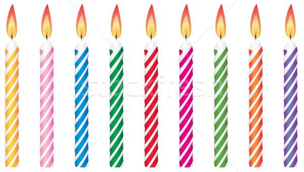 Vecteur coloré bougies d'anniversaire fête heureux anniversaire Photo stock © freesoulproduction
