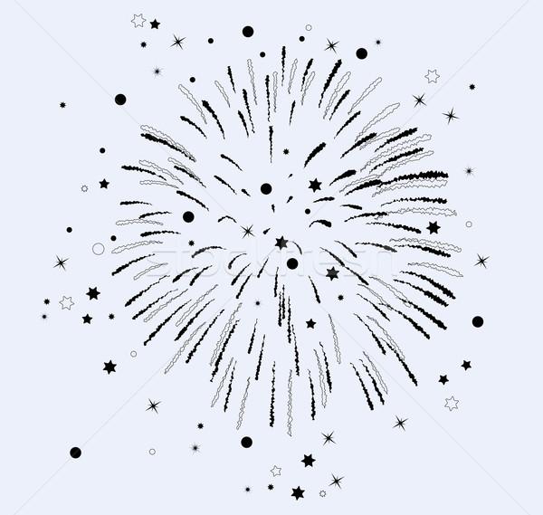 Wektora fajerwerków gwiazdki czarno białe dekoracji pirotechnika Zdjęcia stock © freesoulproduction