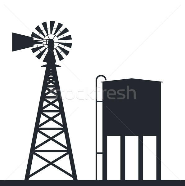 vector background of rural windpump and water tank Stock photo © freesoulproduction