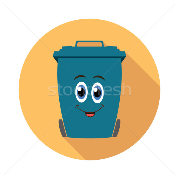 vector flat recycling wheelie bin cartoon icon Stock photo © freesoulproduction
