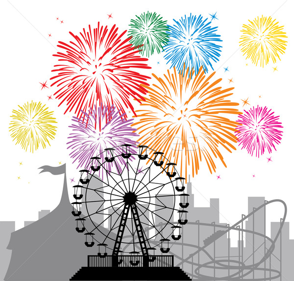 fireworks and silhouettes of a city and amusement park Stock photo © freesoulproduction