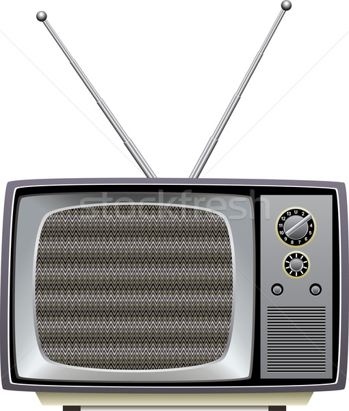 vector retro tv set with static on screen Stock photo © freesoulproduction