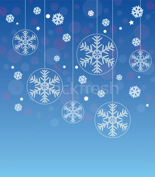Vektor absztrakt tél hópelyhek hó művészet Stock fotó © freesoulproduction