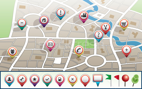 vector city map with GPS icons Stock photo © freesoulproduction