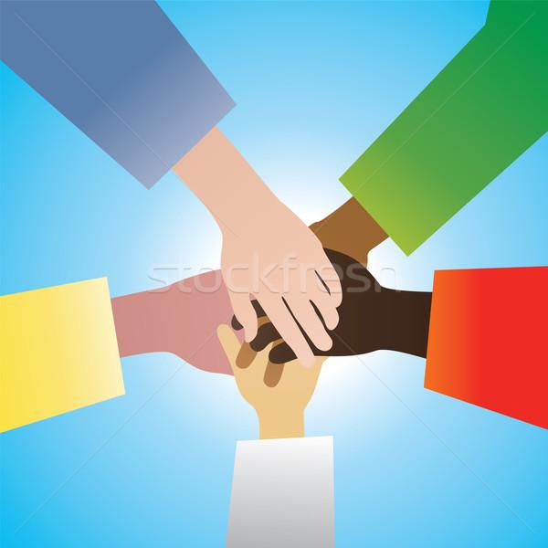 Stock fotó: Vektor · öt · kezek · megállapodás · üzlet · kéz