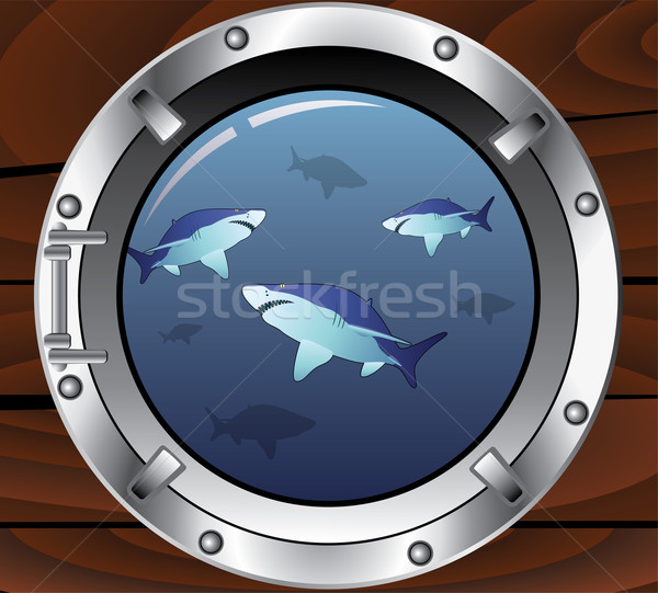 vector porthole and dangerous sharks  Stock photo © freesoulproduction