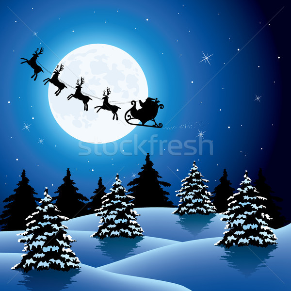 vector xmas holiday background with  flying santa claus  and rei Stock photo © freesoulproduction