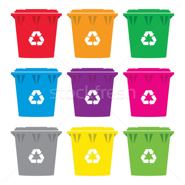 Stock photo: vector set of colorful recycling wheelie bin icons