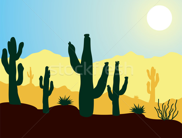 cactus plants and mountains in desert Stock photo © freesoulproduction