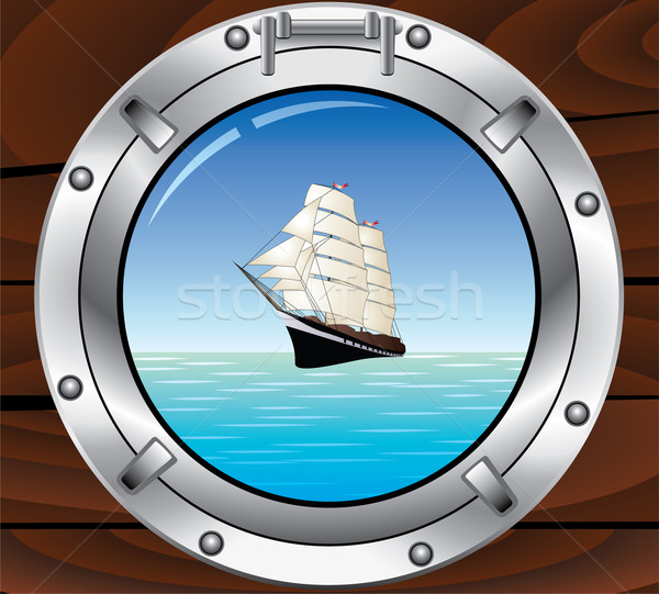 metal porthole and tallship in the ocean Stock photo © freesoulproduction
