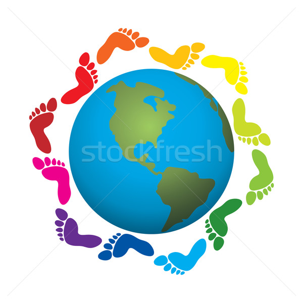 vector foot prints around the earth Stock photo © freesoulproduction