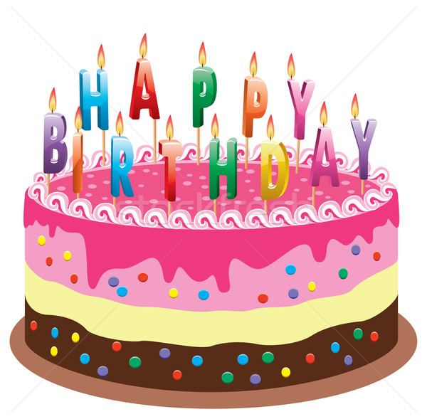 Stock photo: vector cake with  burning birthday candles