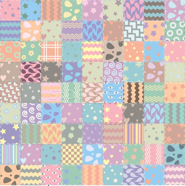 Vecteur patchwork tissu fleur texture fond Photo stock © freesoulproduction