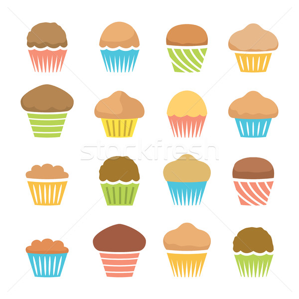 vector flat icons of chocolate and fruit muffins, homemade cakes Stock photo © freesoulproduction