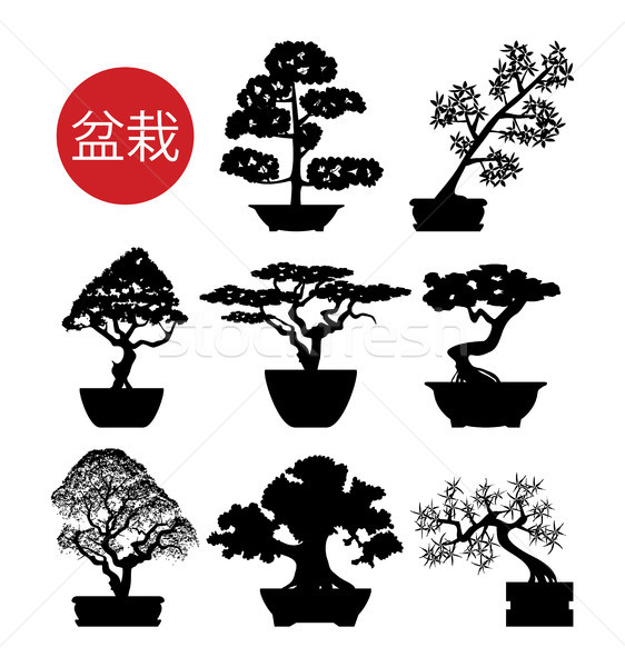 Stock photo: vector set of black and white bonsai trees