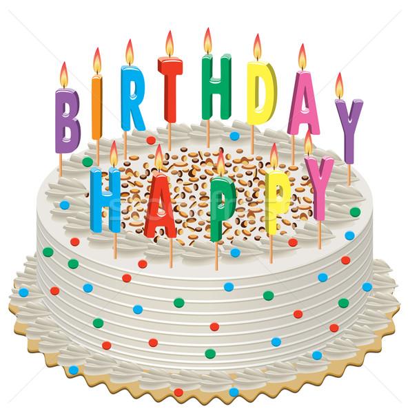 Vetor bolo de aniversário ardente velas feliz verde Foto stock © freesoulproduction