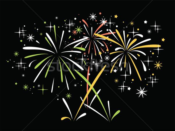 Foto stock: Vetor · abstrato · fogos · de · artifício · aniversário · estrelas · faíscas