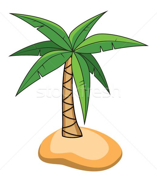 Vetor Desenho Animado Palmeira Pequeno Ilha Viajar