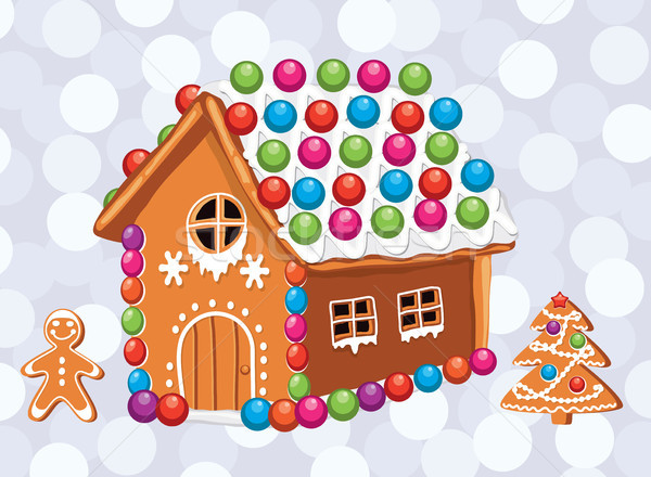 Stock photo: vector xmas card with colorful gingerbread cookies