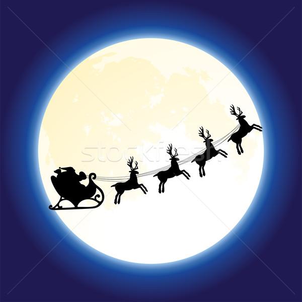 Stock fotó: Vektor · mikulás · repülés · hold · karácsony · ünnep