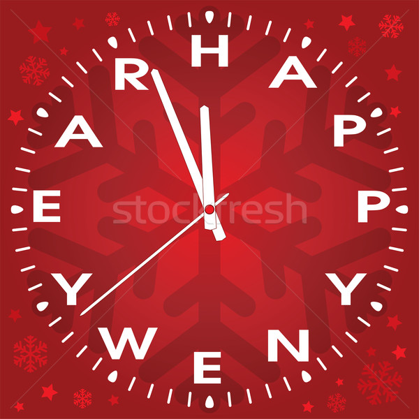 vector happy new year clock  Stock photo © freesoulproduction
