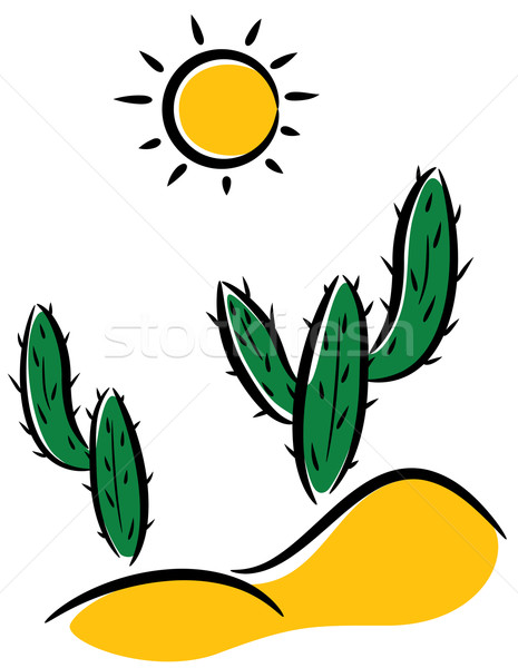 Vettore cactus deserto clipart natura panorama Foto d'archivio © freesoulproduction