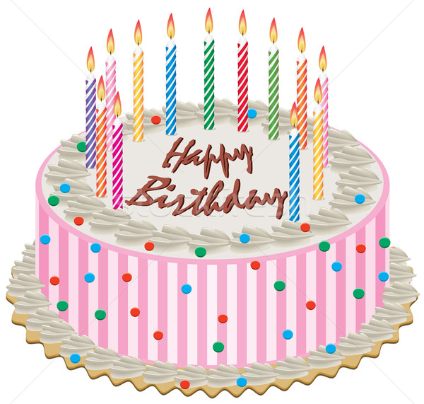 Vetor bolo de aniversário ardente velas feliz bolo Foto stock © freesoulproduction