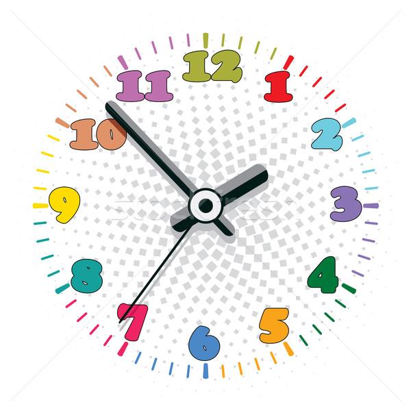 Foto stock: Vetor · colorido · relógio · projeto · escritório · feliz