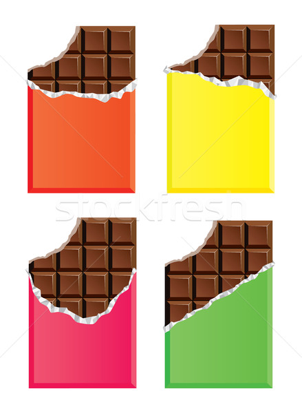 vector dark chocolate bars with a bite Stock photo © freesoulproduction