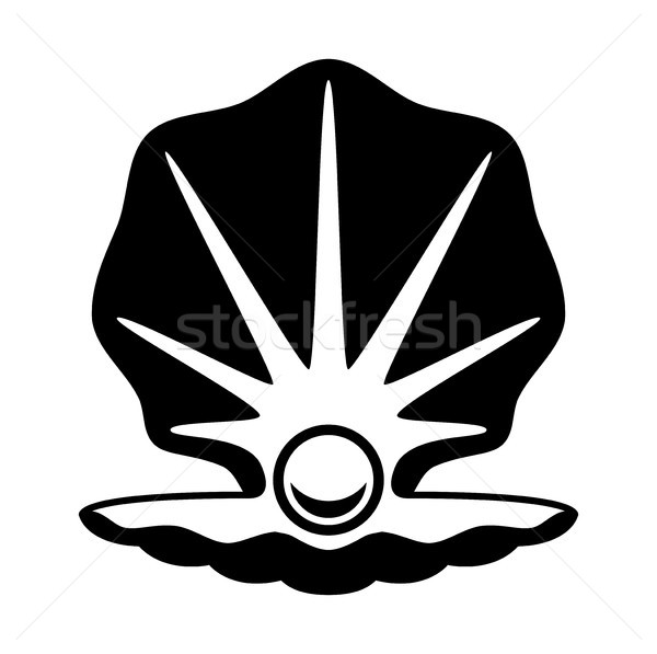 vector pearl in a shell black and white icon Stock photo © freesoulproduction