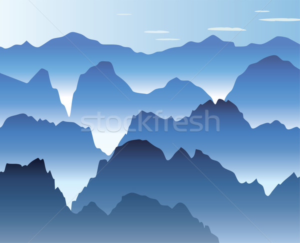 blue morning mist in the mountains Stock photo © freesoulproduction