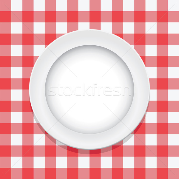 ベクトル 赤 ピクニック テーブルクロス 空っぽ プレート ストックフォト © freesoulproduction
