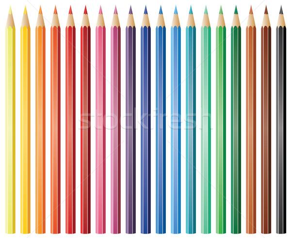 Vektor Bleistifte neunzehn Büro Holz Stock foto © freesoulproduction