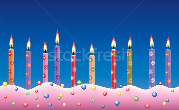 Vecteur rangée bougies d'anniversaire gâteau alimentaire fête Photo stock © freesoulproduction