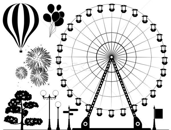 ストックフォト: ベクトル · 要素 · 遊園地 · 黒白 · ホット