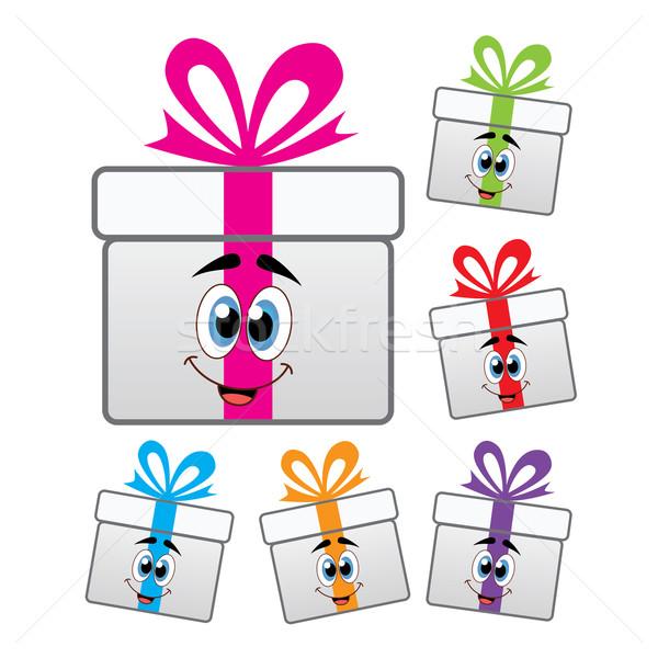 Foto stock: Vetor · caixa · de · presente · símbolos · conjunto · colorido · aniversário