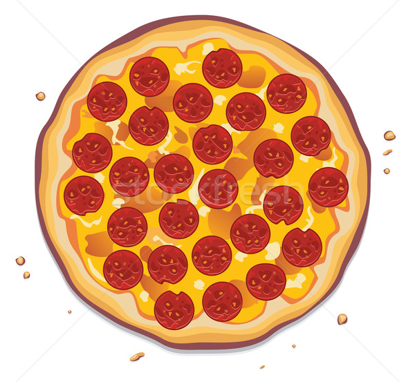 İtalyan pizza pepperoni dilimleri gıda restoran Stok fotoğraf © freesoulproduction
