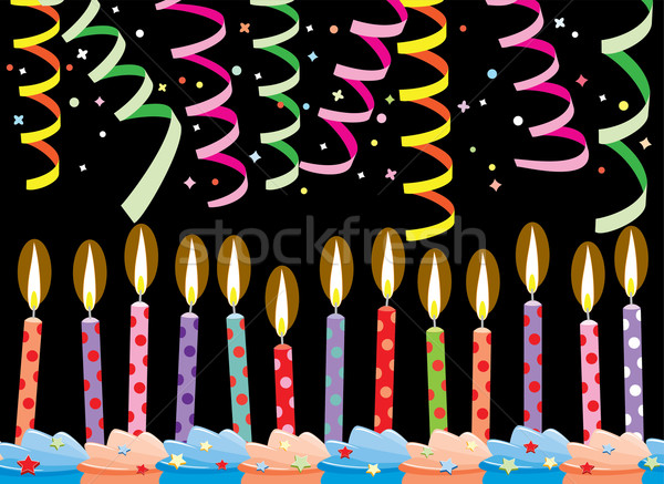 vector row of birthday candles on cake and streamers Stock photo © freesoulproduction