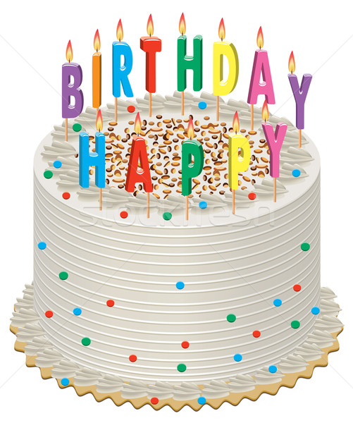 Wektora tort palenie świece szczęśliwy ciasto Zdjęcia stock © freesoulproduction