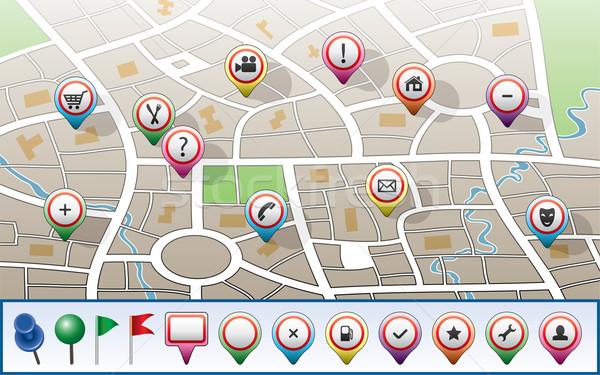 Zdjęcia stock: Wektora · miasta · Pokaż · GPS · ikona · domu