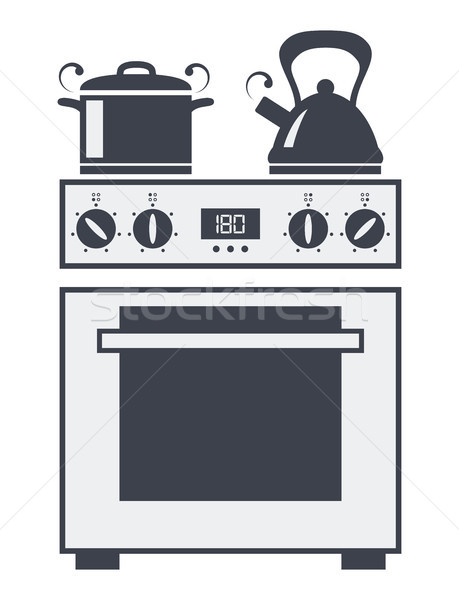 vector icon of kitchen electric oven Stock photo © freesoulproduction