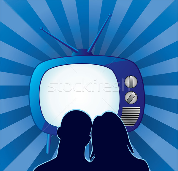 vector couple watching retro tv set  Stock photo © freesoulproduction
