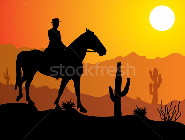 Vector man paard woestijn zonsopgang zonsondergang Stockfoto © freesoulproduction