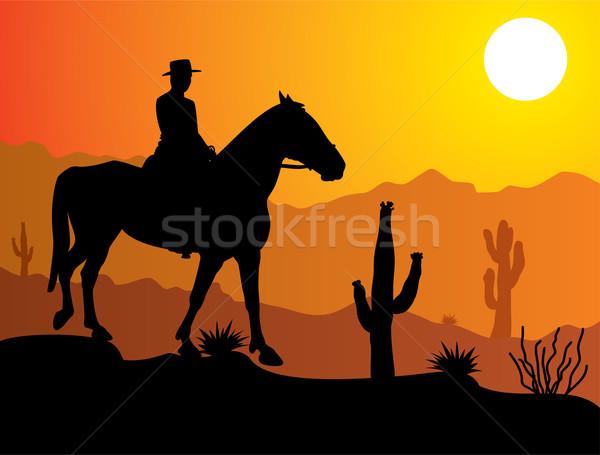 Vecteur homme cheval désert sunrise coucher du soleil Photo stock © freesoulproduction