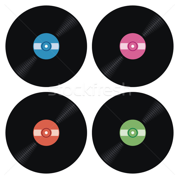 vector set of music retro vinyl record icons Stock photo © freesoulproduction