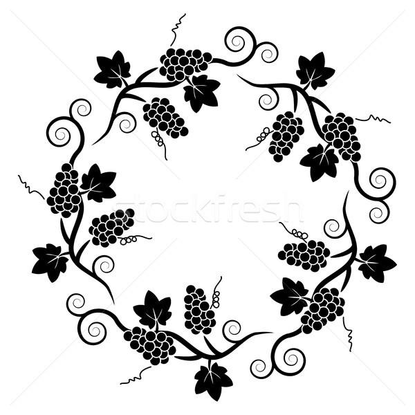вектора черно белые украшение шаблон винограда винограда Сток-фото © freesoulproduction